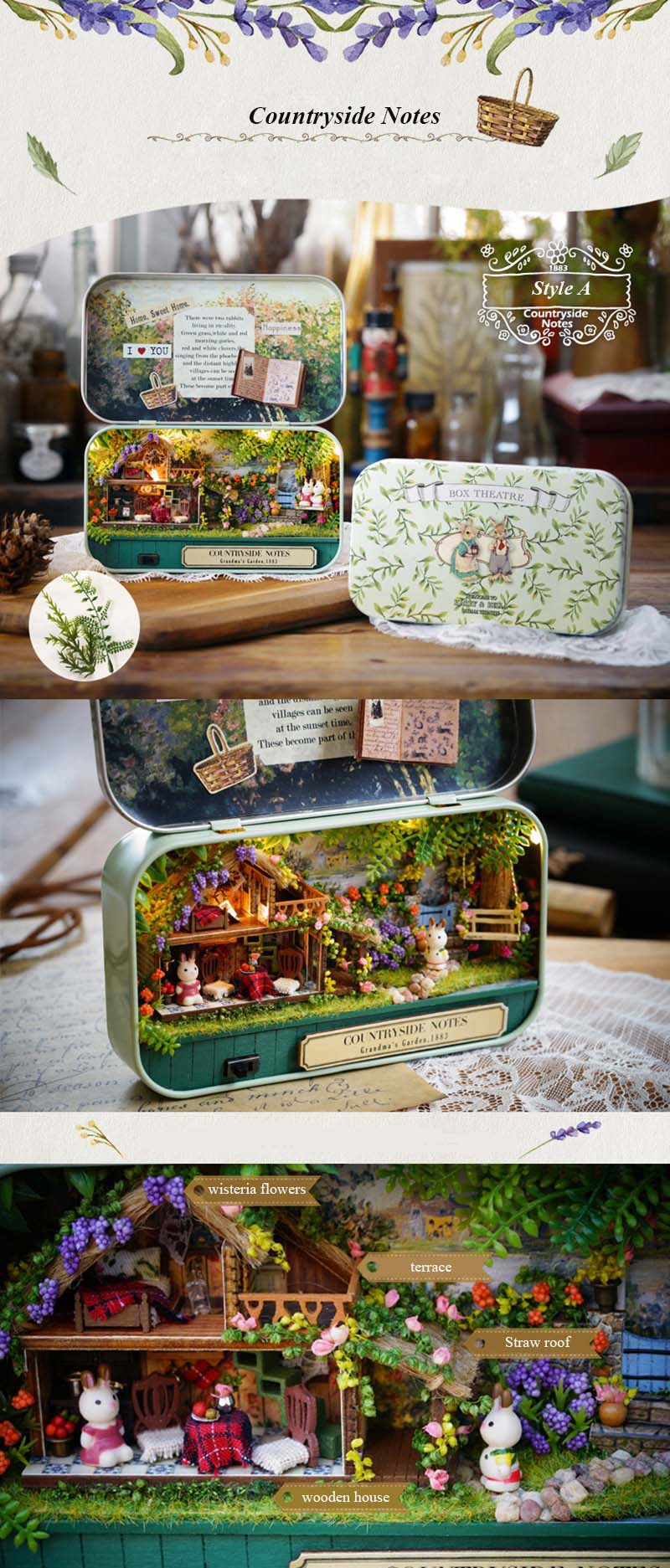 Funny Countryside Notes 3D Wooden DIY Handmade Box Theatre Dollhouse Miniature Box Cute Mini Doll House Assemble Kits Gift Toys (4)