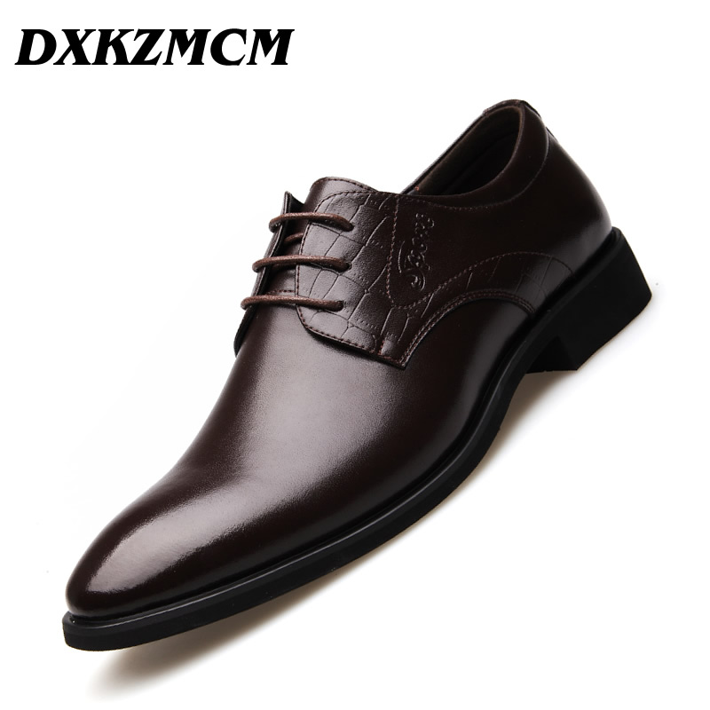 DXKZMCM Handmade Men Flat Leather Men Oxfords, Lace-Up Business Men Formal Shoes, Men Dress Shoes aomardon men