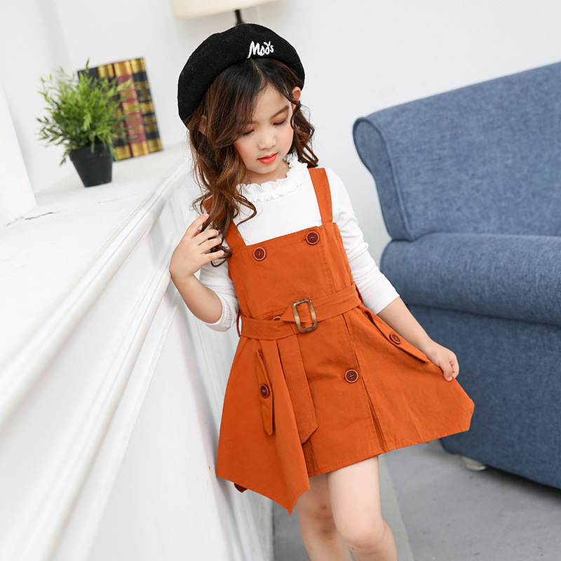 Spring Autumn 2017 new Korean fashion style Kids Girls Cotton suspenders skirt + long sleeve T-shirt 2pcs/suit children female new hot sale 2016 korean style boy autumn and spring baby boy short sleeve t shirt children fashion tees t shirt ages