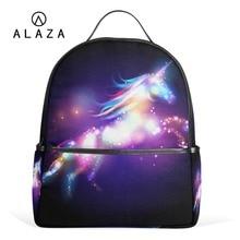 Купить с кэшбэком ALAZA 2019 Unique Unicorn Backpacks Women School Backpack for Teenage Girls Female Mochila Laptop Backpack Black Travel Bags