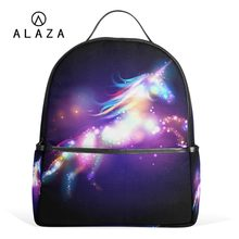 ALAZA 2019 Unique Unicorn Backpacks Women School Backpack for Teenage Girls Female Mochila Laptop Backpack Black Travel Bags(China)