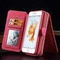 Luxo genuínos casos de telefone de couro com zíper carteira cartão multifunções telefone back covers para iphone 6 s/6 plus/6 splus ks0216 quente