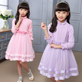 High Quality Knitting Girl Dress Autumn Winter Flowers Collar Knitted Swearter Girls Dress Birthday Party Christmas Kids Clothes