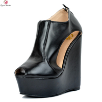 Original Intention New Sexy Women Sandals Fashion Platform Peep Toe Wedges Sandals Gorgeous Black Shoes Woman