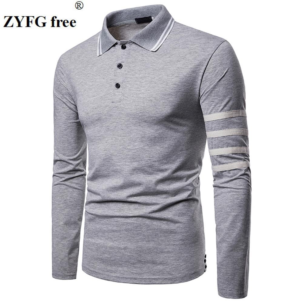 ZYFG free men Polo long sleeve turn-down collar polo shirt breathable gentleman elegant male clothing