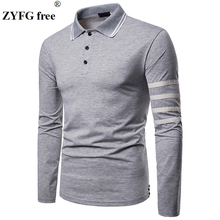 ZYFG free men Polo long sleeve turn-down collar polo shirt breathable gentleman elegant male clothing