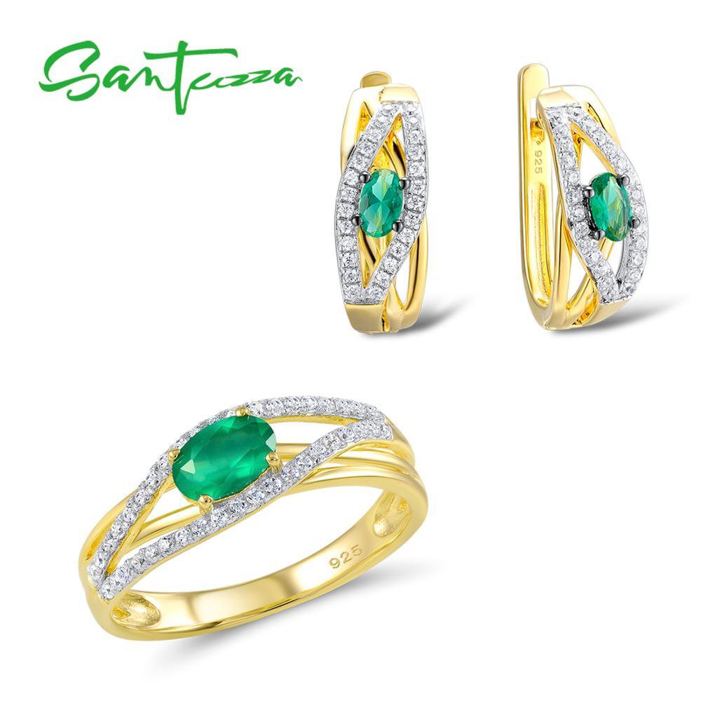 Santuzza Jewelry Set Women Green CZ Stones Jewelry Set Earrings Ring Set Jewelry 925 Sterling Silver