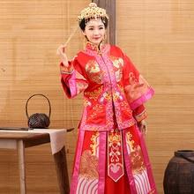 29f98fc04 Na Ji 2016 Traditional Chinese Bride Wedding Costume XiuHeFu LongFengGua  Toasting Costume Hanfu with Hair Tiaras