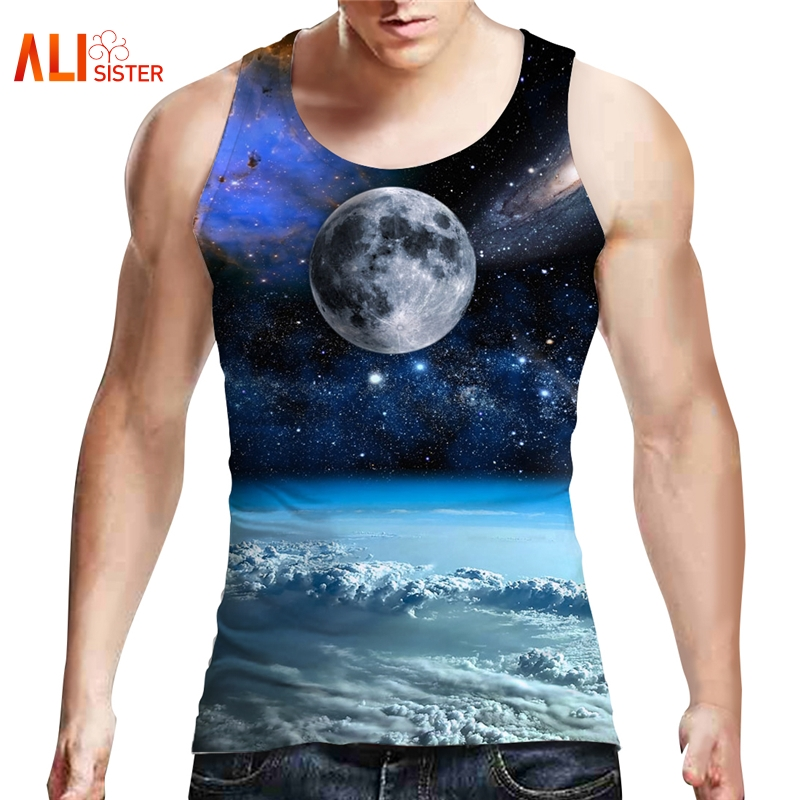 Alisister Galaxy Space Tank Top Men 3d Planet Print Brand Clothing Fitness Large Size Apparel Powerlifting Motivational Vest