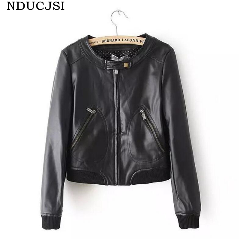 NDUCJSI Fashion Street Women's Short Washed PU Leather   Jacket   Zipper Solid Colors 2017 Autumn Ladies Slim O-Neck   Basic     Jackets