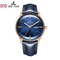 Reef Tiger/RT Luxury Dress Watch Men Genuine Leather Strap Blue Watch Automatic Mechanical Watches Waterproof Date Watch RGA8238