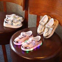 Spring Summer Boys Girls Fashion Sports Shoes with Stars Logo Luminous Shoes LED Lights Colorful Flat Sneakers Free Shipping
