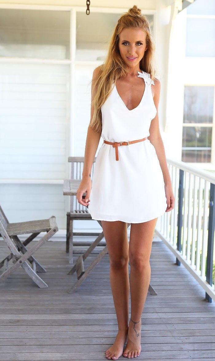 Moderno Vestidos Blanco Para La Playa Foto Ideas de Decoracin de