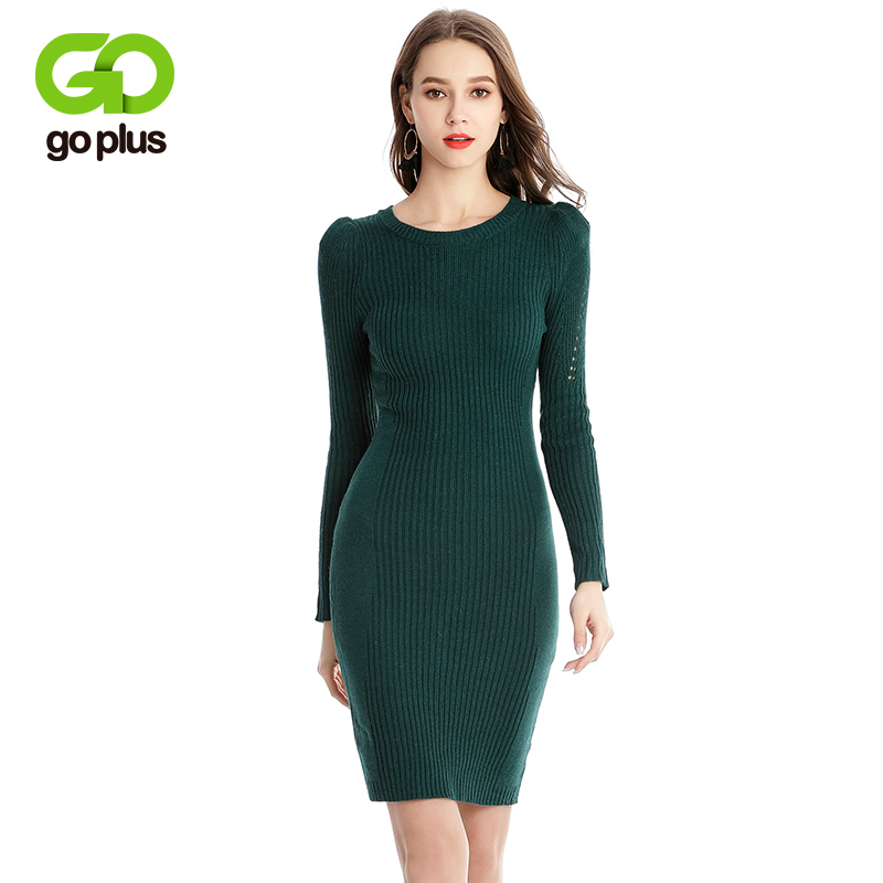 GOPLUS Fashion Spring knitted Sweater Dress women 2018 O-Neck Long Sleeve Slim sexy Mini Dress Solid Color party Dress Pullove