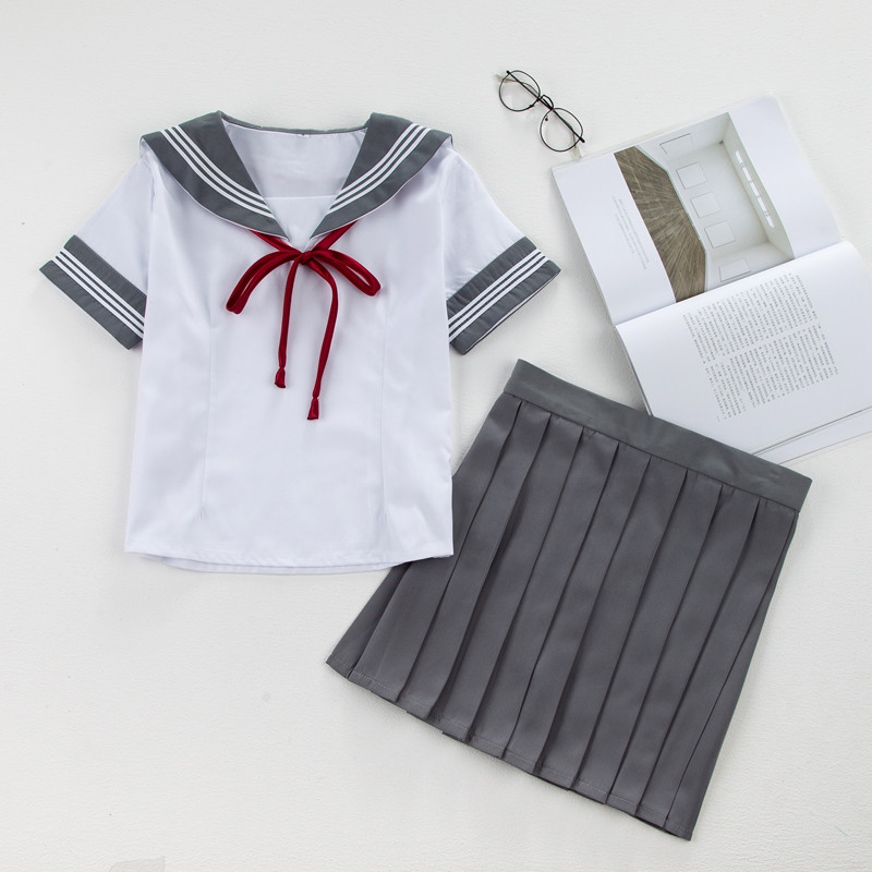 New Jk School Uniforms Girls Short Sleeve Sailor  Japanese High School Cosplay Uniforms Korean School Uniforms Set Skirt Girls