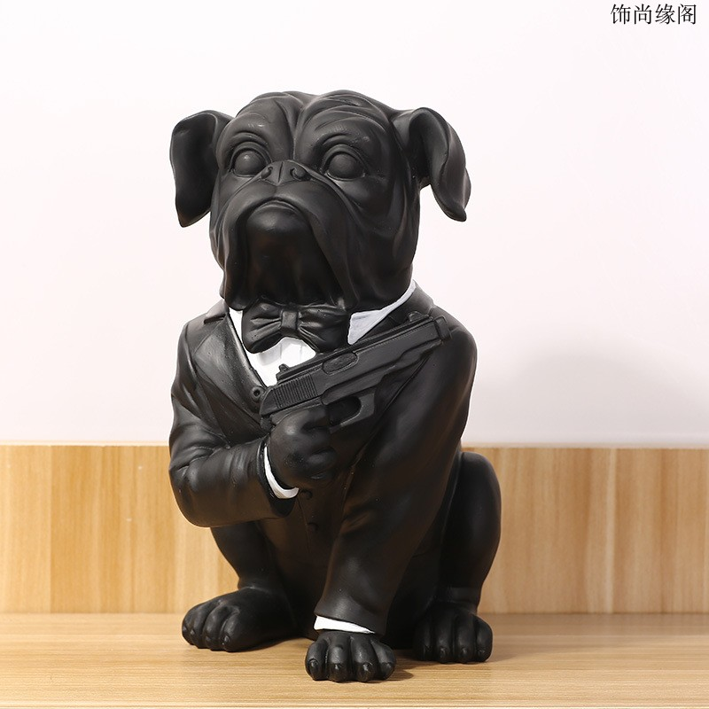 Black Resin French Bulldog Dog Figurine Home Decor Crafts Room Decoration Objects Vintage Pug Dog Ornament Resin Animal Statue