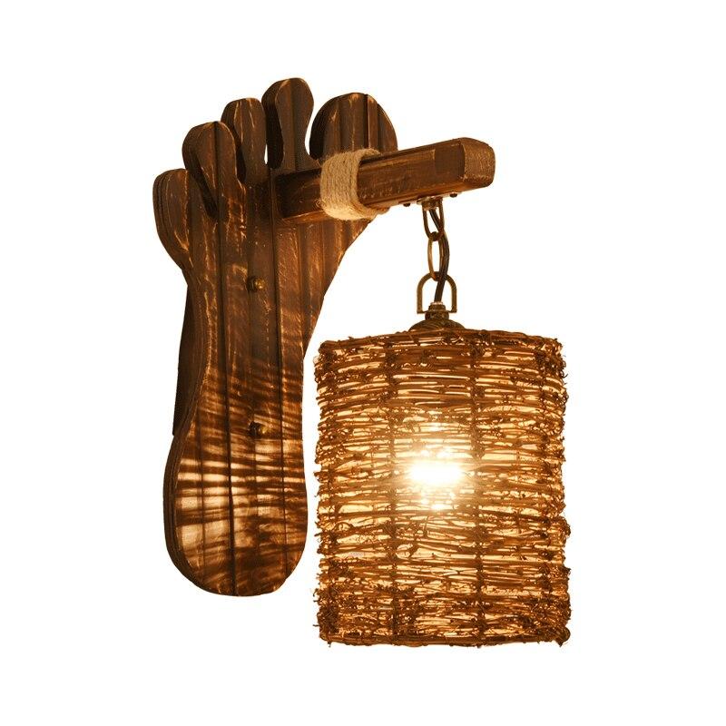 American Retro Деревянный светильник Настенный светильник ночники бар проход спальня балкон стены гостиной лампы
