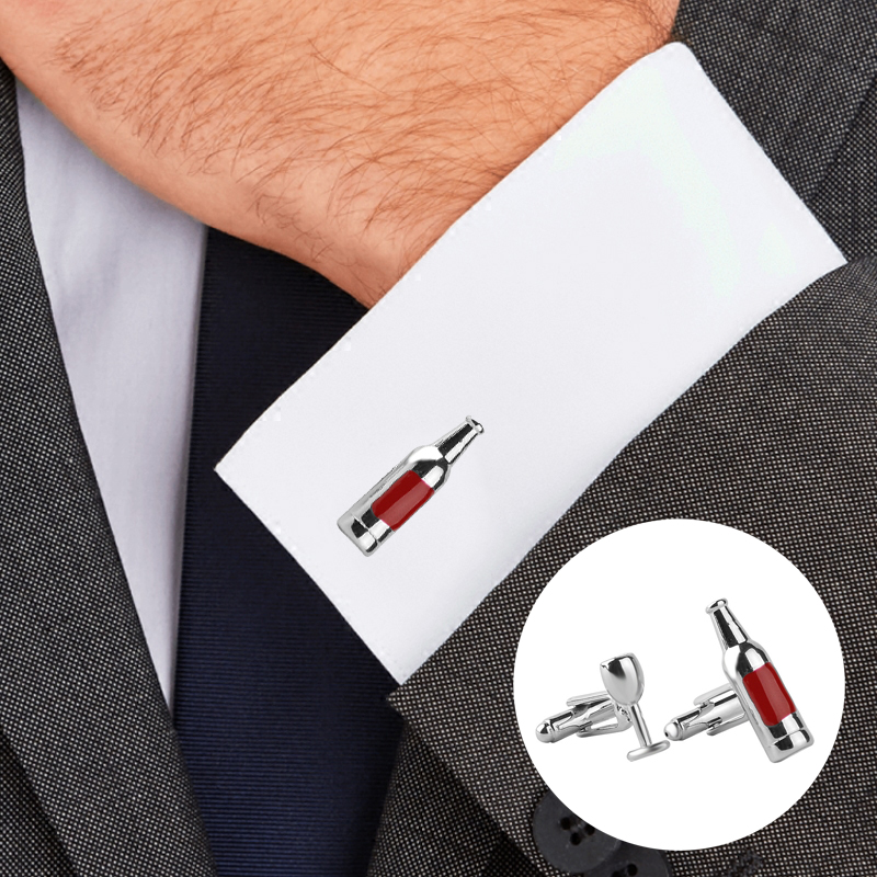 Creative High Quality Cufflinks Unisex Button Gift Bottle Wine Glass Double Cufflinks Alloy Durable Men's Cufflinks Tie Clip