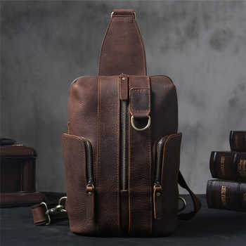 2018 Brand Handmade Cow Leather Men Chest Bag High Quality Vintage Classic Chest Pack Men Large Capacity Versatile Shoulder Bag - DISCOUNT ITEM  30% OFF All Category