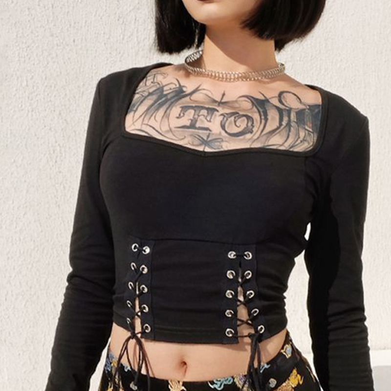 Gothic T Shirt And Skirt Women Set Lace Up T Shirt Square Collar Navel Tops Dragon Print Chinese Style Skirt Split Women New Set