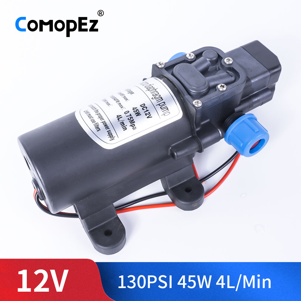 Durable DC 12V 45W 130PSI 4L / Min Agricultural Electric Water Pump Black Miniature High Pressure Diaphragm Water Sprayer Car