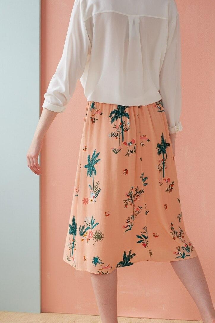 2019 Новая женская розовая юбка с цветочным принтом, свежая Милая юбка миди - 4