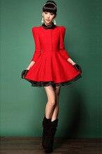 women dress  winter dress  New winter red woolen organza tutu  big yards dress free shipping