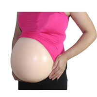 Hot Sell False Silicone Skin Belly Pregnant With Adhesive Backside Transparent Straps Jelly Tummy