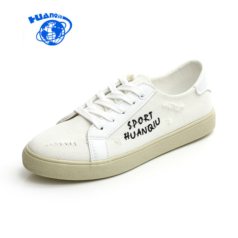 HUANQIU Chaussure Femme Women White Shoes All-match Casual Canvas Shoes Korean Style Female Black Shoes Flat Heel Size 35-39 huanqiu white women vulcanize canvas shoes low breathable female solid color flat shoes casual candy colors leisure cloth shoes