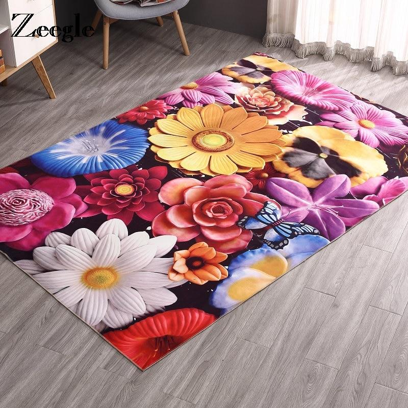 Zeegle Living Room Carpets Door Mat Flannel Fleece Floor Carpet Anti Slip Kitchen Carpets Absorbent Bathroom Rugs