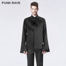 Punk Rave Gpthic Dark Printing Shirt with Trumpet Sleeve Unique Design Brand Gothic Solid Long Sleeve Shirts