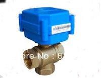 3 way motorized ball valve 3/4 DN20, electric ball valve, CR01,12V