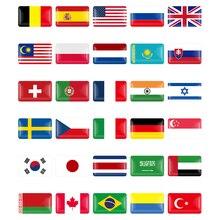 10Pcs Car 3D Italy/Spain/German/France/Sweden/Russia/Belarus Flag Decorative National Emblem Badge Decals Sticker Car Styling 1 pcs car 3d national emblem abs england italy germany france usa polygon shield flag auto badge car stickers car styling