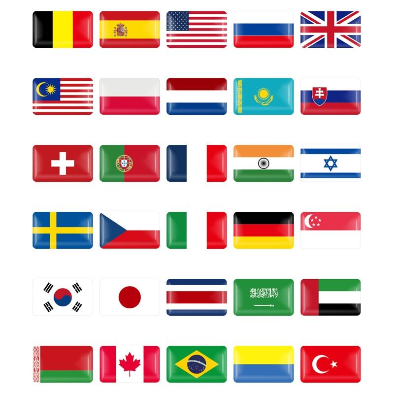 10Pcs Car 3D Italy/Spain/German/France/Sweden/Russia/Belarus Flag Decorative National Emblem Badge Decals Sticker Car Styling