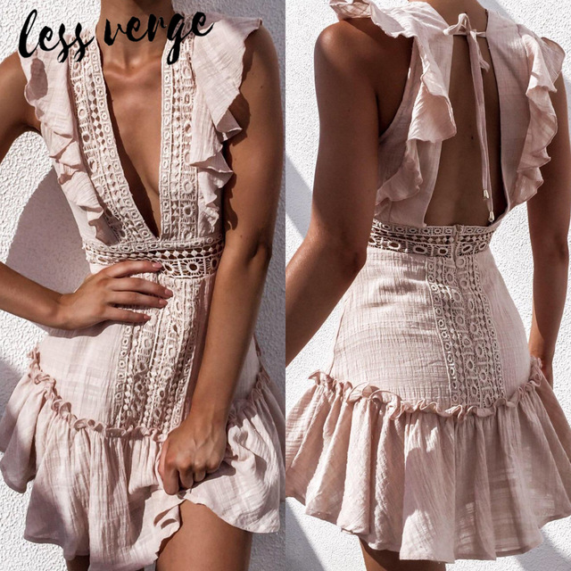 lessverge Deep v neck embroidery women dress Ruffle lace up cotton lace up summer dresses Sexy hollow out pink mini beach dress