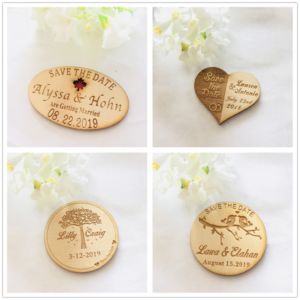 50pcs lot Personalized Magnet Wedding Favors Rustic Wood Save the Date Magnet with Envelope for Wedding