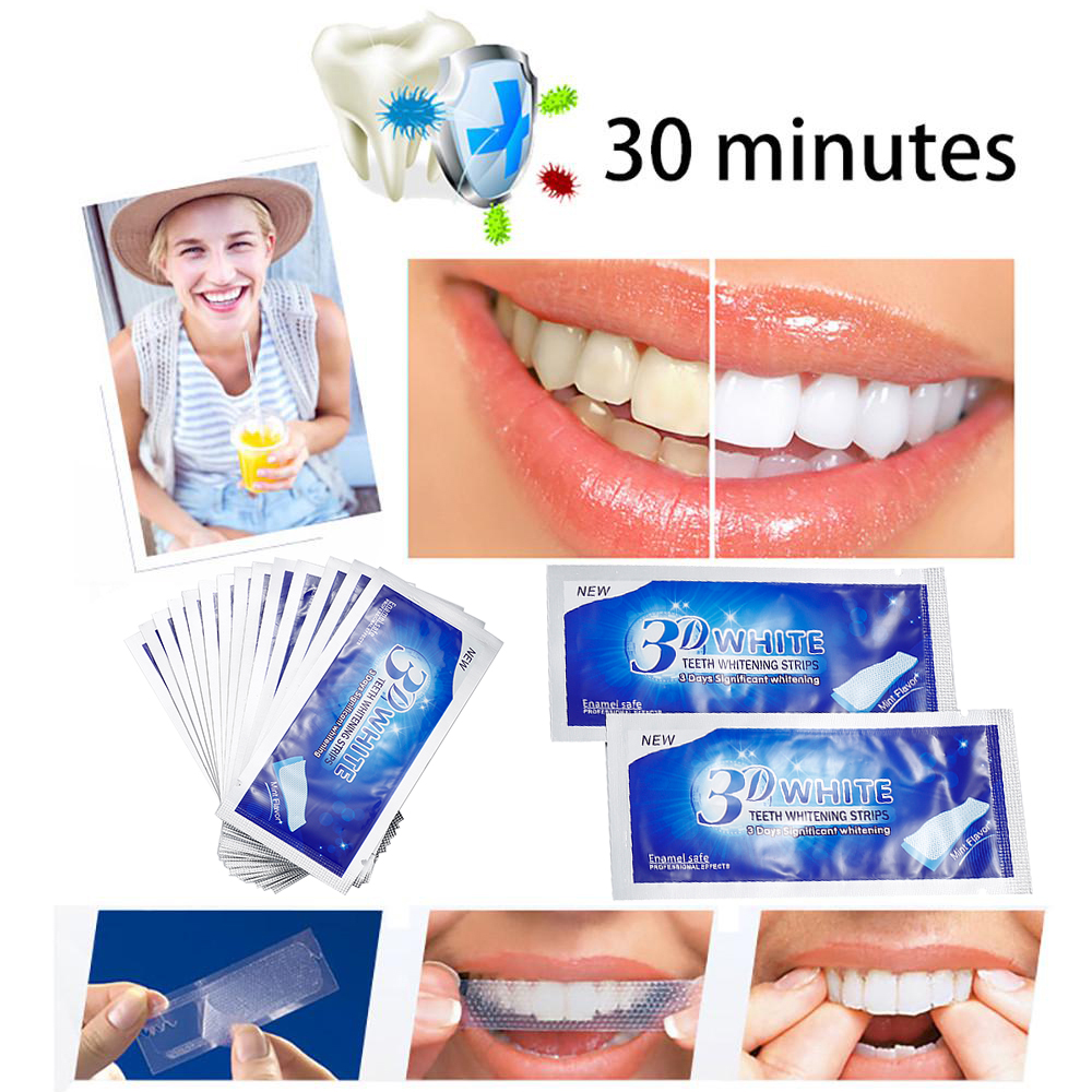 Man/Women 3D White Gel Teeth Whitening Strips Tooth Dental Kit Tooth Bleaching Whiter Strips Essentials Oral Hygiene Care TSLM2