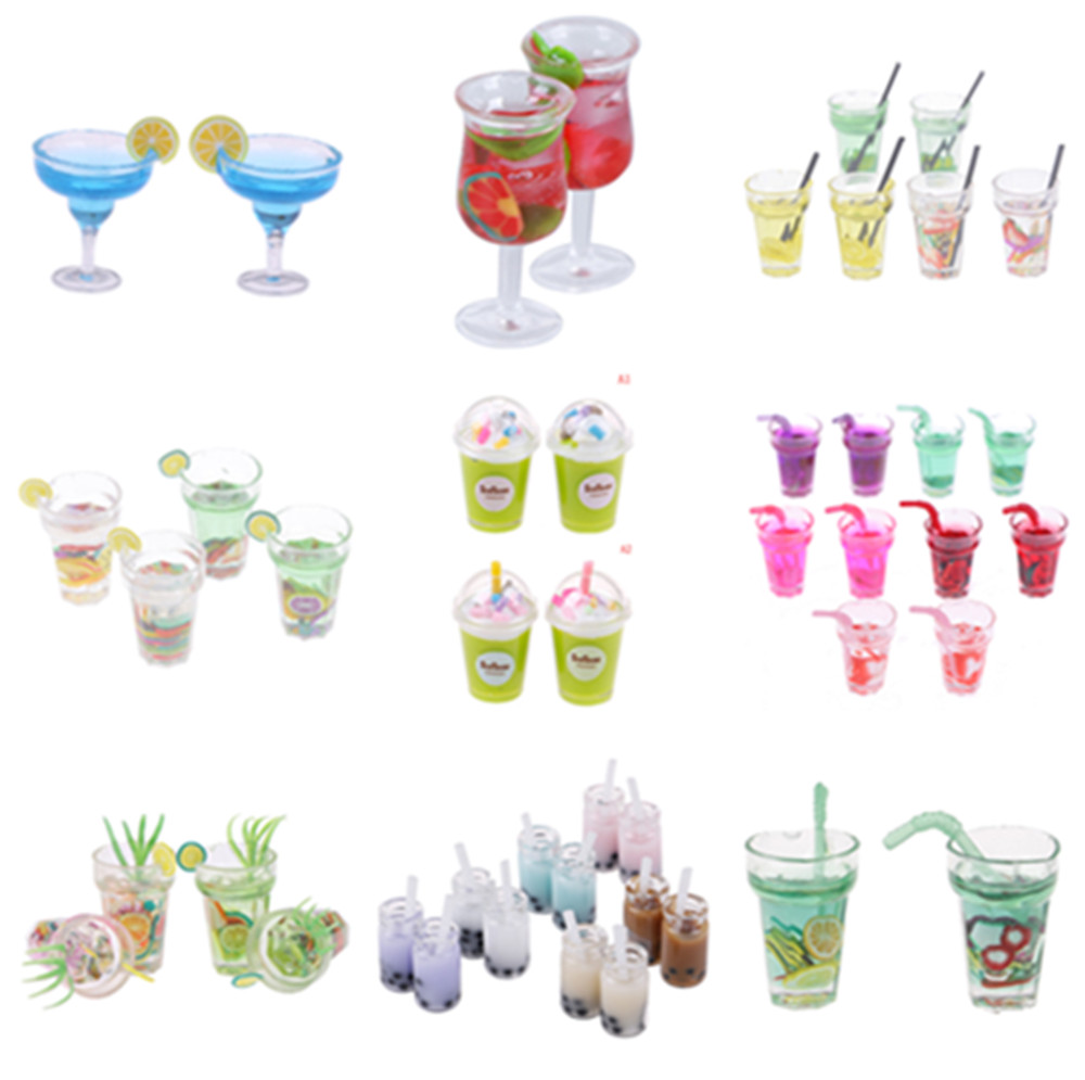 1/2/3pcs 1/12 Dollhouse Miniature Accessories Fruit Tea Cup Simulation Miniature Drinks Model Furniture Toy Doll Home Decoration