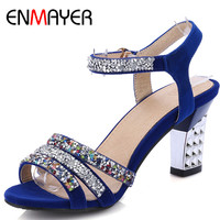 ENMAYER kadın Yüksek Topuklu Moda Sandalet Sivri Burun Rhinestone 3 Renkler Mavi Yeni Parti Sandalet Ayakkabı Kadın Büyük Boy 34-43