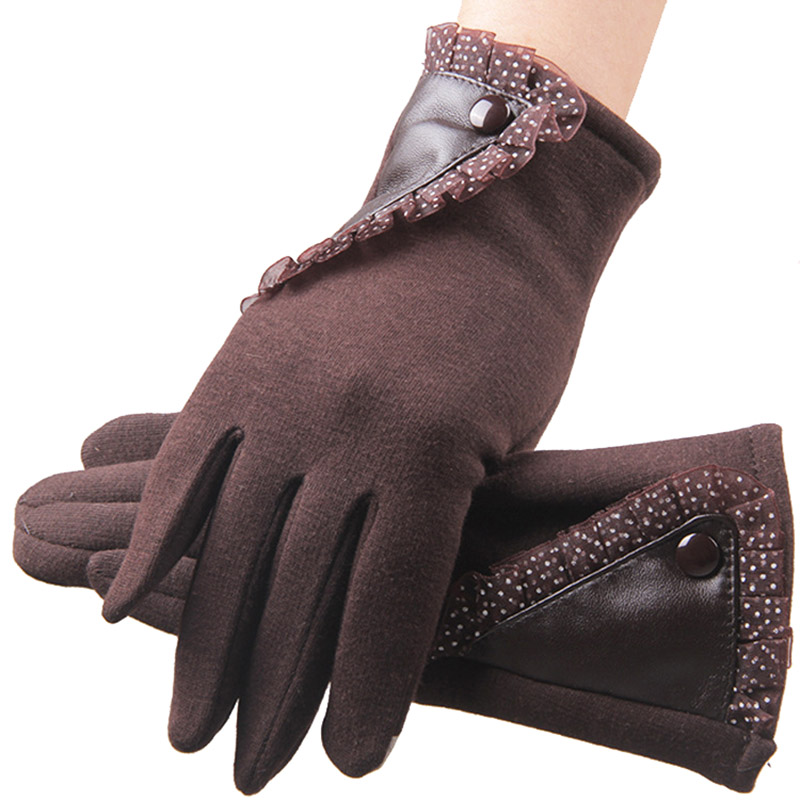 250pcs/lot New Women Winter Gloves Touch Screen Thermal Mittens Female Outdoor Thick Fleece Warm Gloves