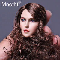 Mnotht Toys 1/6 Scale Girl Head Sculpt Brown Hair Blue Eyes Female Beauty Head Carving D009 for 12 inch Action Figure Accessory