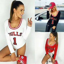 793fcb82dc0c New Autumn Sexy Slim Bodysuits Women Letter BULLS Print Rompers Overalls  Sexy Playsuits Bodycon Black Red Club Jumpsuit