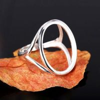 Sterling Silver 925 White Gold Color Semi Mount Wedding Ring For 16x20mm 18x22mm Oval Cahochon Gemstone