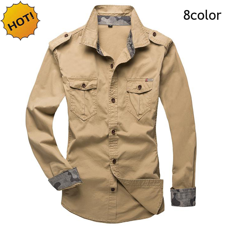 Fashion indoor Spring Army Men s Shirts Man Tooling Military Cotton Solid Camisa slim fit Long