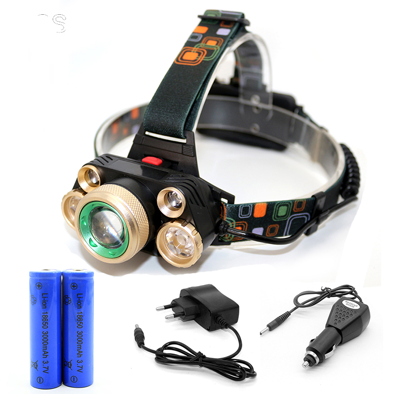 high power Cree 5 x Led Xml- t6 Headlight 18000 Lumens adjustable Headlamp 18650 Rechargeable Head Lamp Light +Battery+Charger