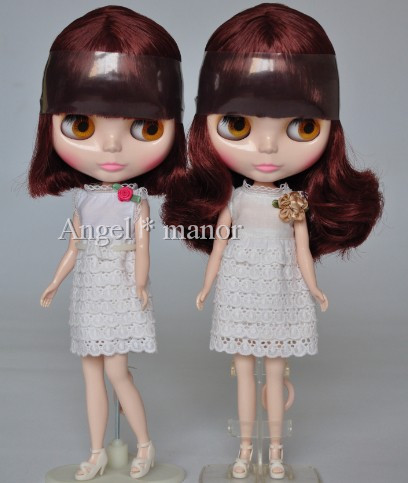 Free shipping Nude Blyth Doll, maroon  and short  hair,Fashion doll Suitable For DIY Change BJD , For Girl's Gift nude blyth doll with gold hair fashion doll suitable for diy change bjd for girl s gift free shipping pjj012