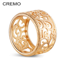 Cremo Floral Cuff Rings Copper Vintage Finger Ring Female Argent Reversible Leather Delicate Cage Boho Comfort Fit Jewelry