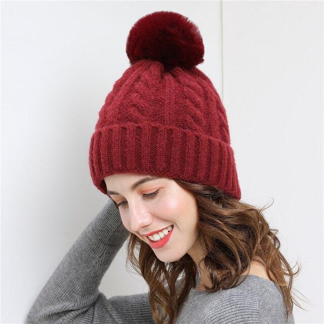 98e64e8c36f Double layer design winter hats for women Detachable pompom gorros girl beanie  Thicker Women s cap fur