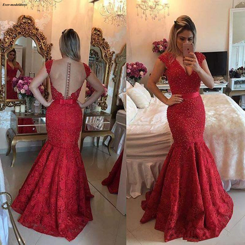 2019 Arabic Red Mermaid   Prom     Dresses   Deep V-neck Illusion Buttons Back Lace Appliques Bow Formal Party Gowns vestidos de gala