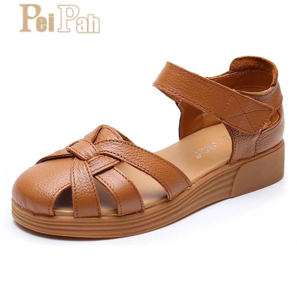 PEIPAH Handmade Womens Sandals Summer Genuine Leather Soft Soles Femme Shoes Hollow Sapatos Mulher Rome Cow Leather Women ShoesPEIPAH Handmade Womens Sandals Summer Genuine Leather Soft Soles Femme Shoes Hollow Sapatos Mulher Rome Cow Leather Women Shoes